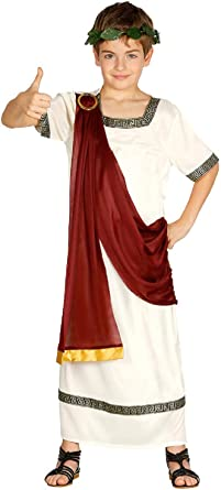 Boys White Red Gold Roman Toga Fancy Dress Party Costume Outfit 3-8 years