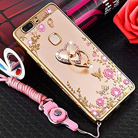 Coque Huawei Honor 8, Coque Huawei Honor 8 Transparent Liquid Crystal Ultra Fine Premium Souple TPU Silicone avec 360° Support de Téléphone, Etsue Huawei Honor 8 Luxury Plating Rose Coque Metal coque Paillette Strass Brillante Bling Glitt