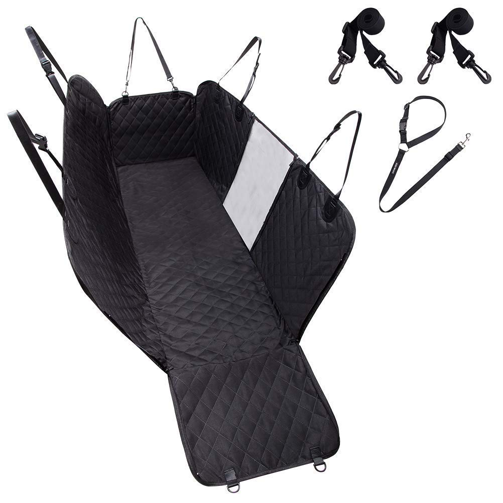 EXPAWLORER Dog Car Seat Cover Waterproof Seat Covers – Back Seat Cover for Pets Black, 100 Waterproof, Hammock Convertible
