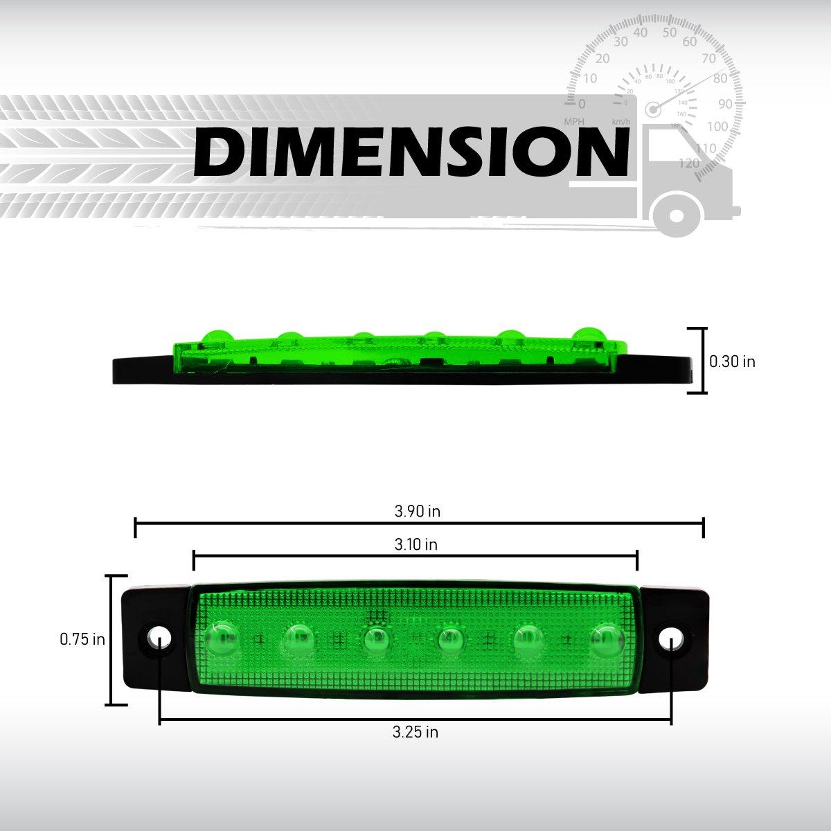 Pack of 4 3.8 Inch 2 Red /& 2 Green 6 LED Side Marker Indicators Lamp License Decoration Light Rear Fender Brake Tail Stop Truck Trailer Bus Camper SUV ATV Boat Lorry Jeep 12v DC Model TK12 Meerkatt