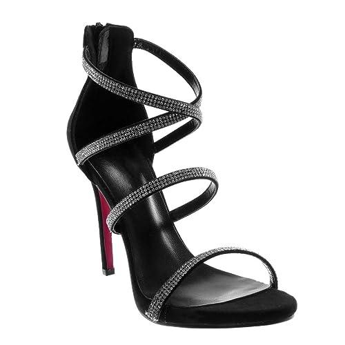 Angkorly - Scarpe Moda Sandali Decollete con Tacco Stiletto con Cinturino  alla Caviglia Sexy Donna Cinghie 1f11a10d6d1