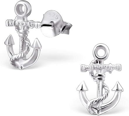 Monkimau Damen Ohrringe Anker Ohrstecker aus 925 Sterling Silver echt Silber mit Tau