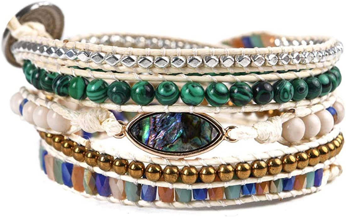 YGLINE Leather Handmade 7 Chakra Yaga Bead Wrap Bracelet Jewelry