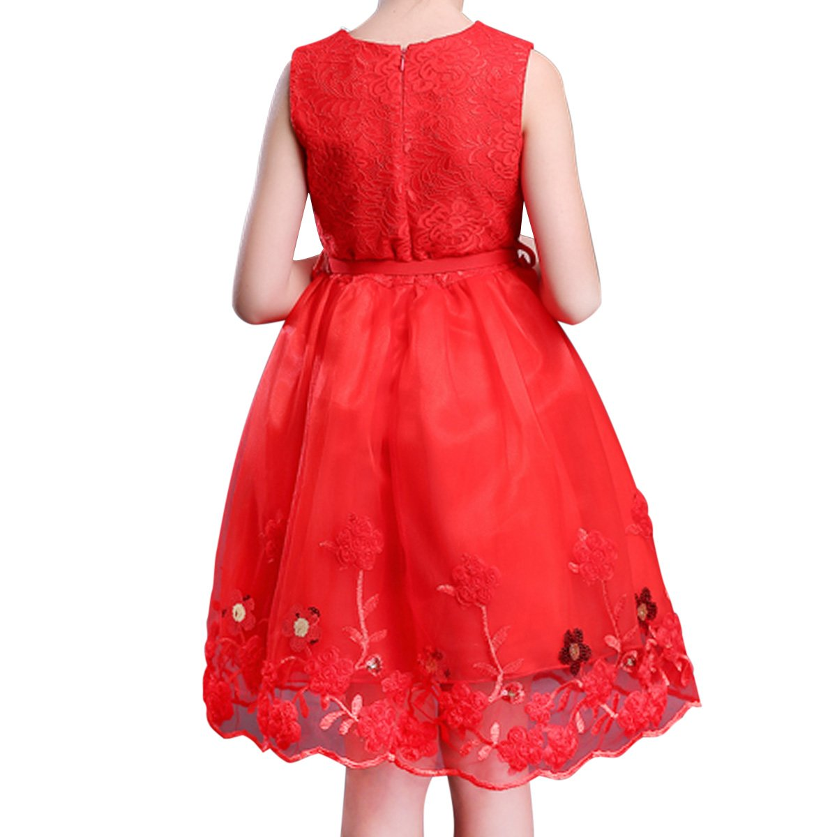 ecbb820ab35 BANGBO LEATHER Summer Sleeveless Dress Lace Formal Princess Dress Cute and Elegant  Party Dress with Belt for Girls 5-12 Years Old (10-11 Years
