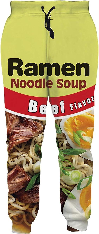 SKYRAINBOW Mens Ramen Pants 3D Print Noodle Sweatpants Loose Fit Joggers Baggy Pants with Drawstring