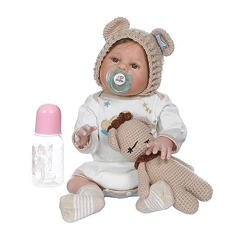 Muñeca realista de bebé de 48 cm, suave y de silicona ...