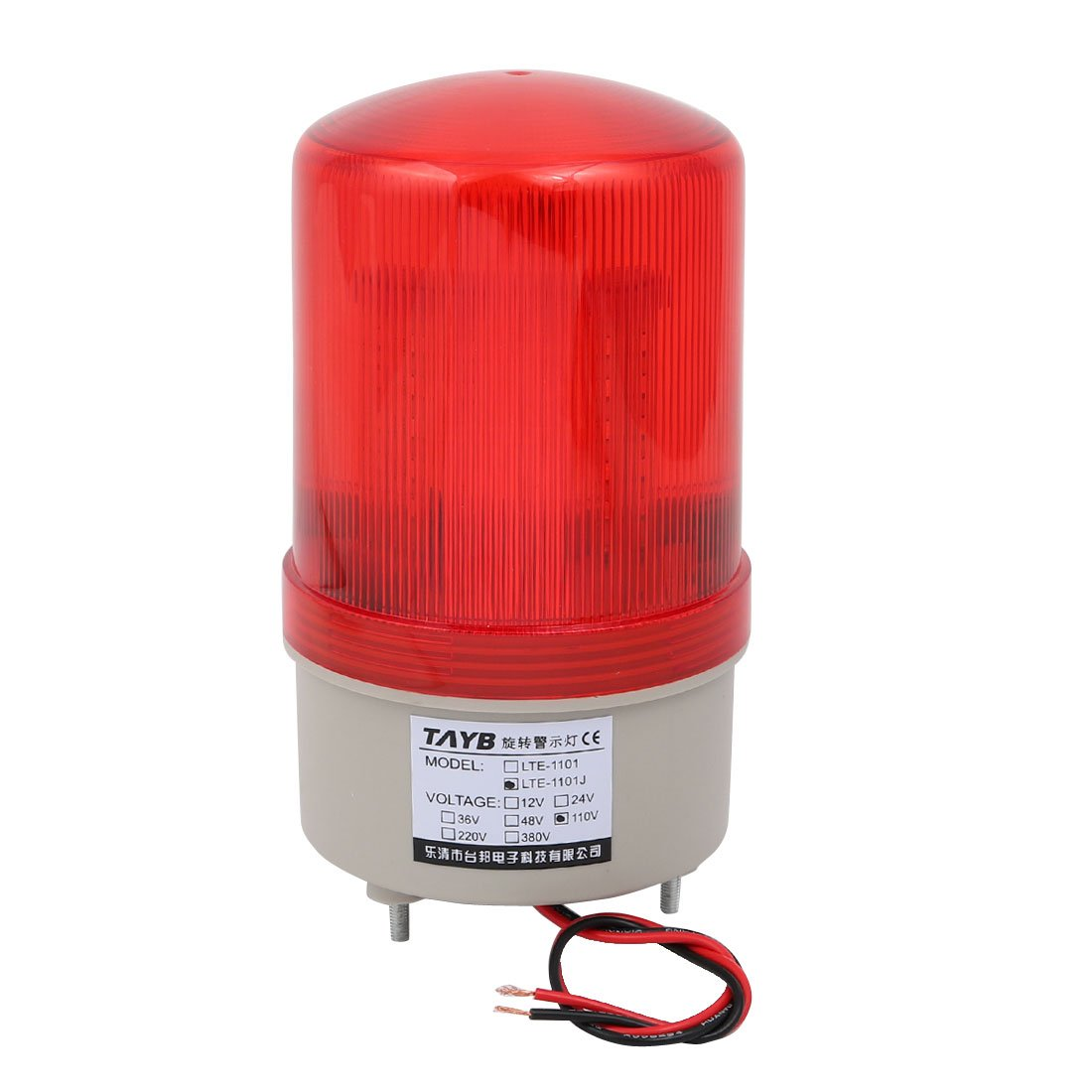 uxcell Industrial 105-110dB Buzzer Siren AC 110V Red LED Warning Light Signal Tower Lamp a14052600ux0781