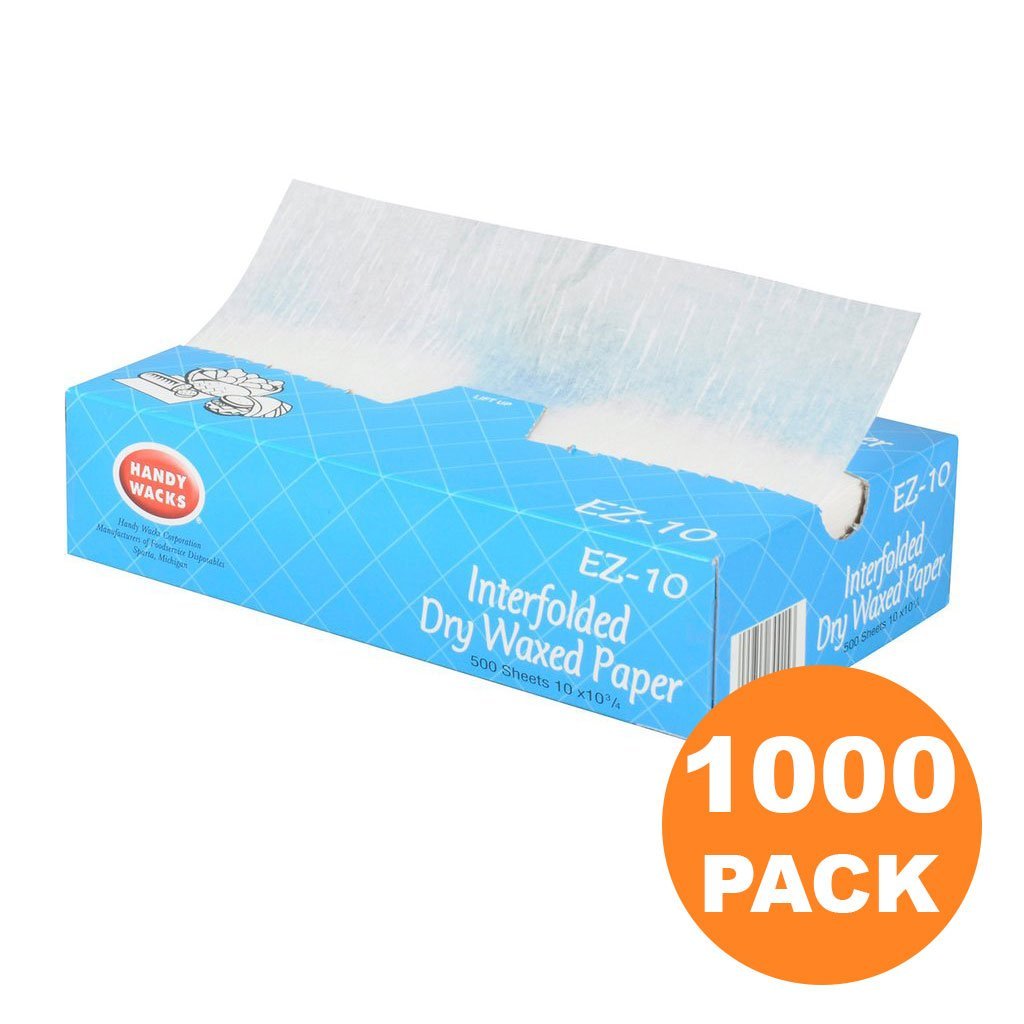 [1000 Pack] Interfolded Food and Deli Dry Wrap Wax Paper Sheets with Dispenser Box, 8 x 10.75 Inch [2x500 Pack]