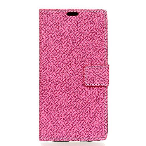 YHUISEN Weave patrón de cierre magnético de cuero de la PU de la cartera Flip Folio caso con soporte / tarjeta de ranura cubierta protectora de la caja para Huawei Y5 II / Huawei Y5 2 ( Color : Gray ) Pink