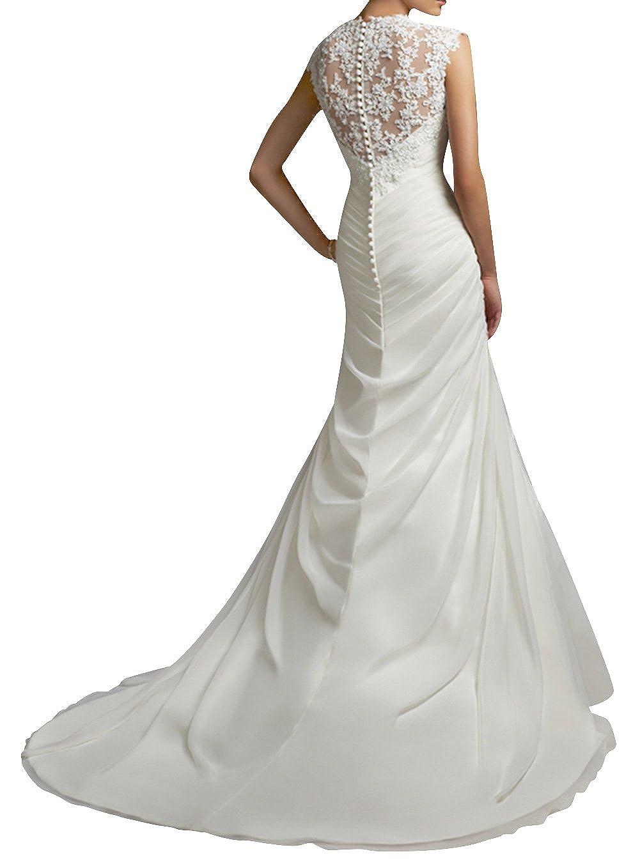 c523d7a8d9c Dapene® Robe de mariée style sirène en dentelle avec décolleté cœur et  traîne  Amazon.fr  Vêtements et accessoires