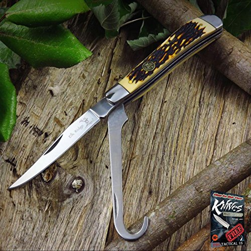 NEW! Elk Ridge 2-Blade Stag Bone Handle Equestrian's Folding Pen Pocket Elite Knife + free eBook by ProTactical'US