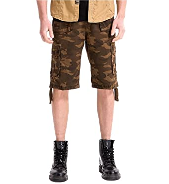 WorkTd Men's Cotton Casual Camouflage Military Shorts 12 Inch ...