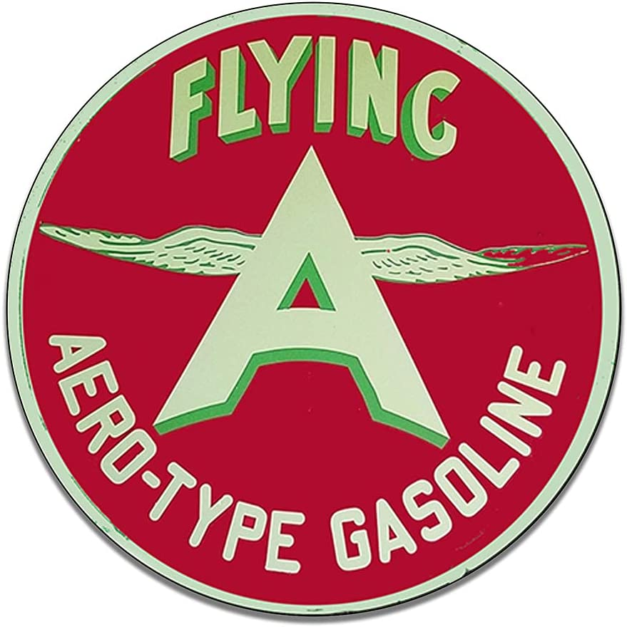 Flying A Aero Type Gasoline Lubricants Vintage Gas Signs Reproduction Car Company Vintage Style Metal Signs Round Metal Tin Aluminum Sign Garage Home Decor With 2 American Flag Vinyl Decals