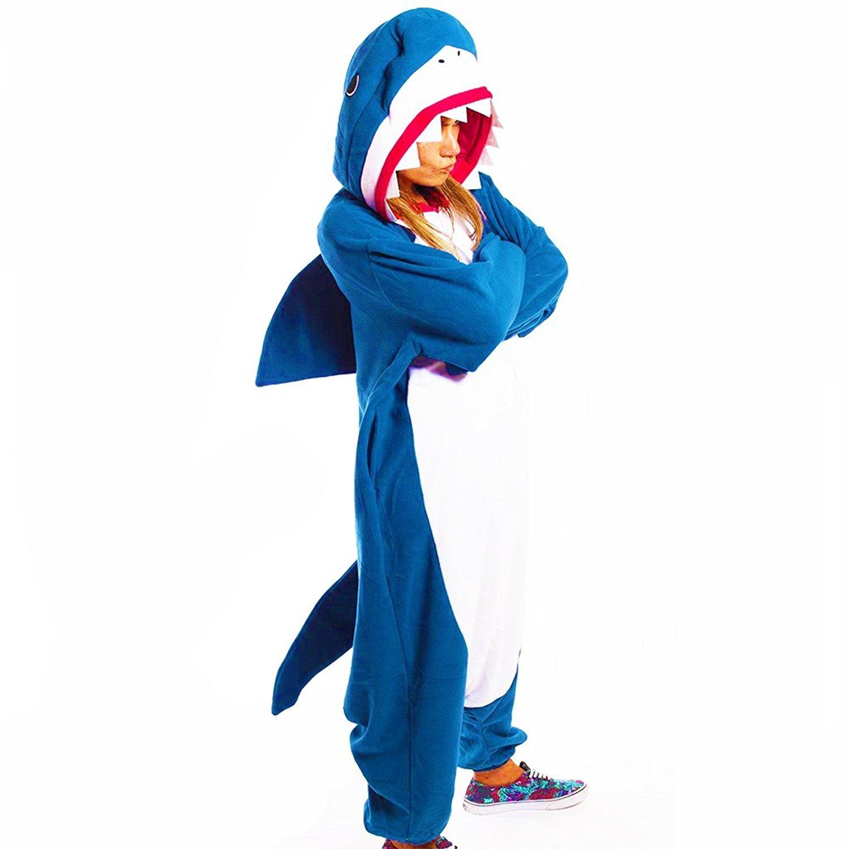 Animal Cosplay Costume Unisex Blue Sharky Shark Kigurumi Onesies Costumes YUPENGDA