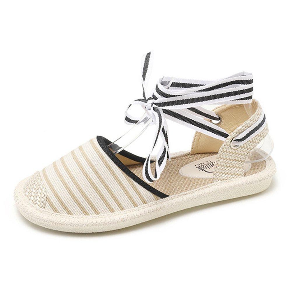 JITIAN Beige Sandales Été Toile Femmes Plates Chaussures Été Lacets Cheville Cheville Espadrilles à Rayures Été Sandale Beige a161e4d - reprogrammed.space