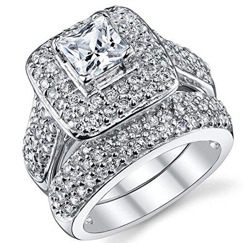 LAMOON Princess Cut Cubic Zirconia Rhodium Plated Bridal Promise Engagement Wedding Ring Set