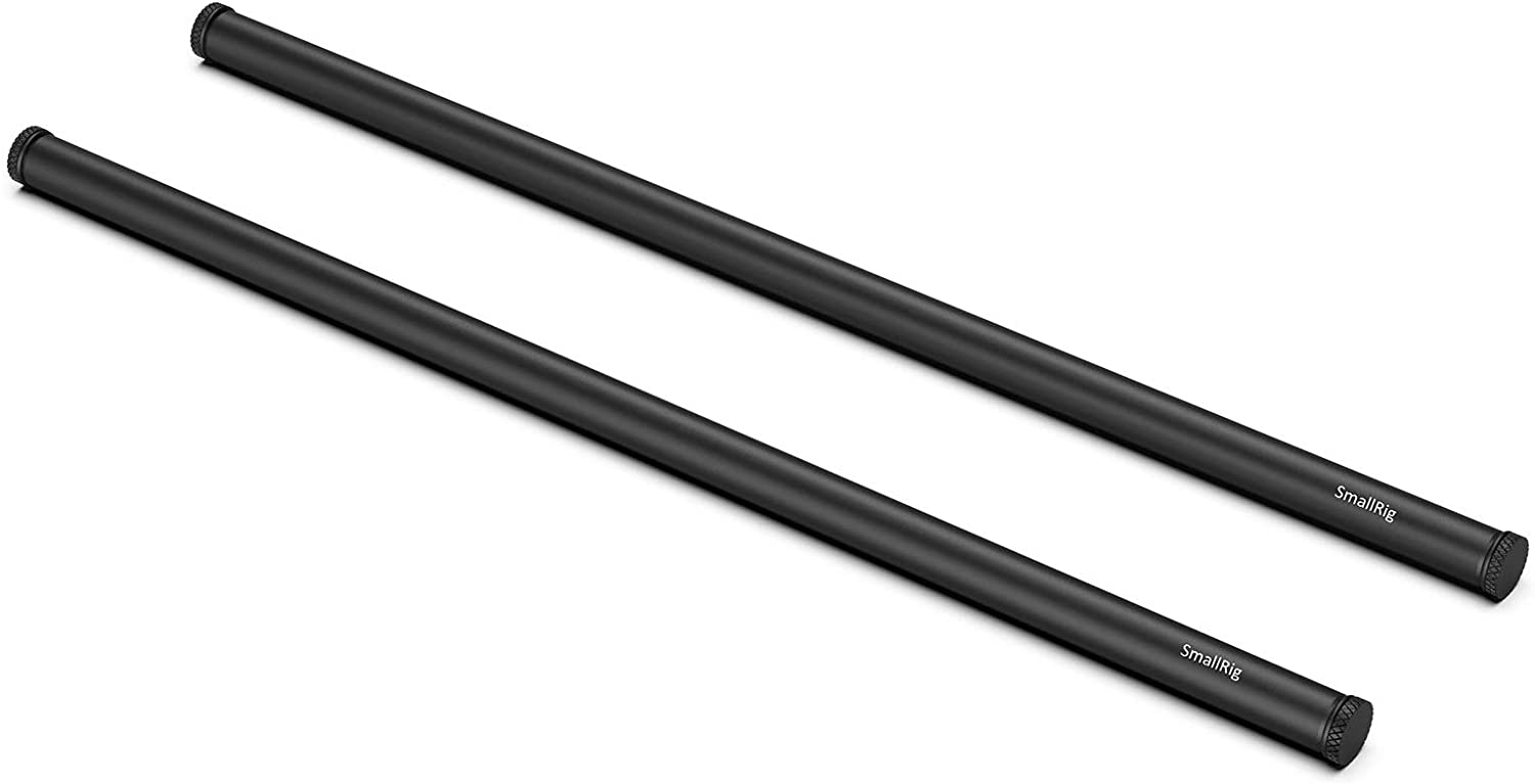 SMALLRIG 16 Inches (40 cm) Black Aluminum Alloy 15mm Rod with M12 Female Thread, Pack of 2 – 1054