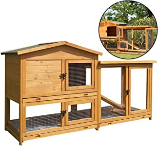 Rabbit Hutch Luxurious Double Drawer Rabbit Nest Large Wooden Dog House with Stairs Double Cleaning Tray Pet Cage Outdoor Special (Color : Brown, Size : 178 * 56 * 95cm)
