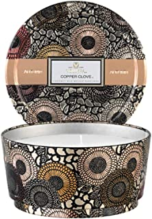 product image for Voluspa Fall Candle Copper Clove 3 Wick Pedestal Tin Candle, 14 Ounces