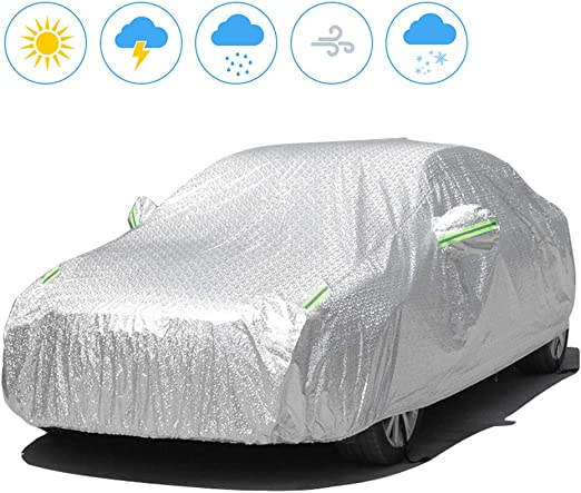 Greensen Car Cover Waterproof Tarpaulin Car Cover UV Protection Car Cover Tarpaulin Aluminium Foil Sun Protection Car Cover with Lock Dustproof Car Cover Design Left Door Opening
