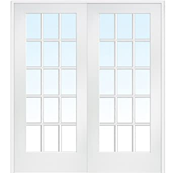 Merveilleux National Door Company ZA09321BA Primed MDF 15 Lite Clear Glass, Prehung Interior  Double Door,