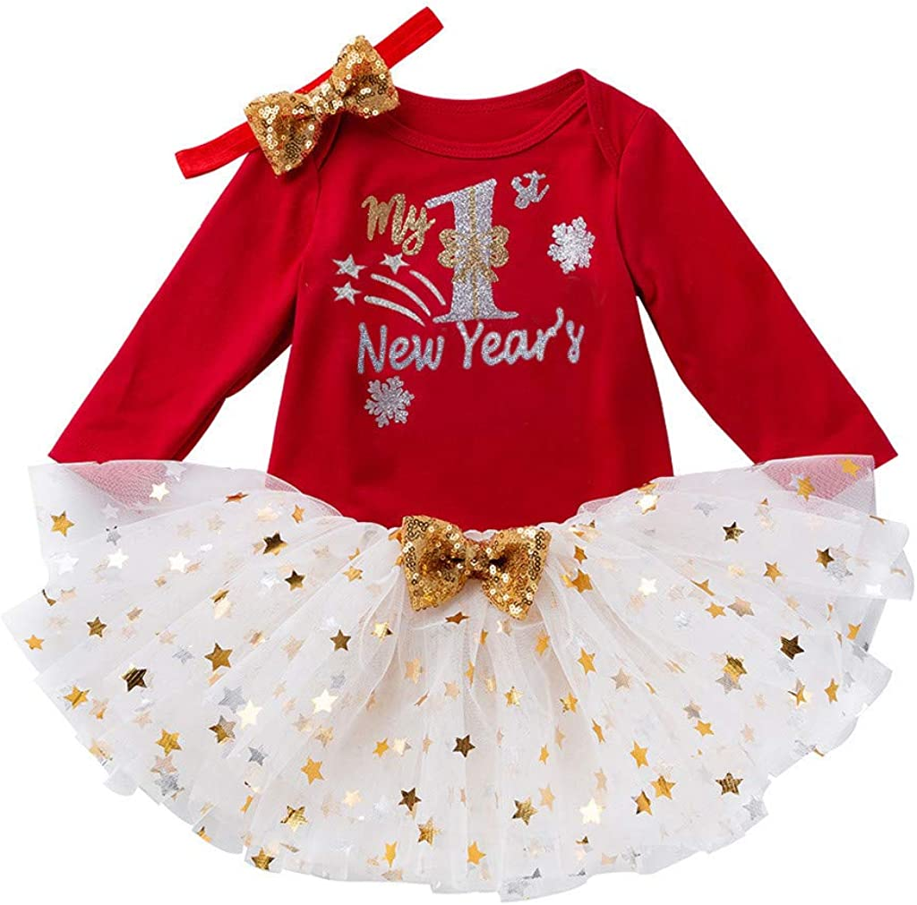 Amazon Com Voberry Toddler Baby Girl First New Year Tutu Dress Outfit My 1st New Year Romper Headband Tutu Dress Clothing
