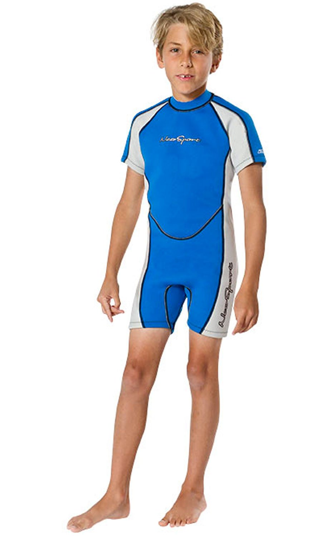 NeoSport Wetsuits Children's Premium Neoprene 2mm Shorty Wetsuit, Blue/Platinum, Size Four by Neo-Sport