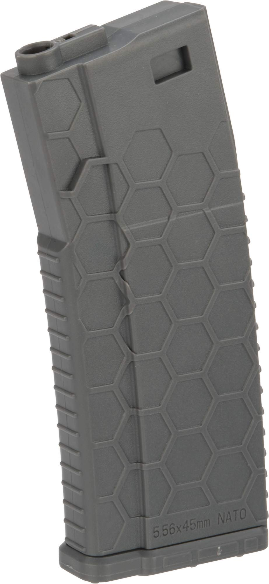 Evike Hexmag ECO Airsoft 120rds Polymer Mid-Cap Magazine for M4 / M16 Series Airsoft AEG Rifles(Color: Grey/Single) by Evike