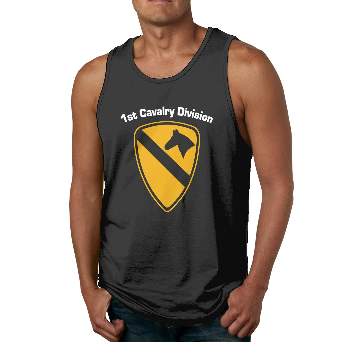 Army 1st Cavalry Men Printed Vest Sports Tank-Top T-Shirt Leisure Sleeveless Tees FKAHQ U.S