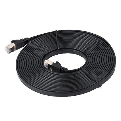 1m/1.8m/3m/5m/8m/10m/15m Cat7 Ethernet Cable Black Intelart Cat-7 Flat RJ45 Computer Internet Lan Network Ethernet 600MHz Patch Shielded Cable Cord 15m/49.2ft
