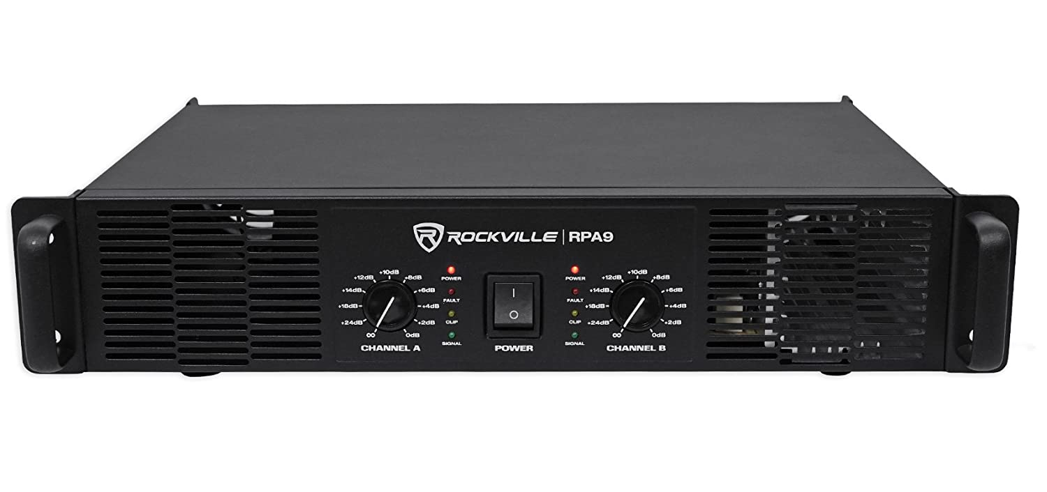 Amazon.com: Rockville RPA9 3000 Watt Peak / 800w RMS 2 Channel Power Amplifier Pro/DJ Amp: Musical Instruments