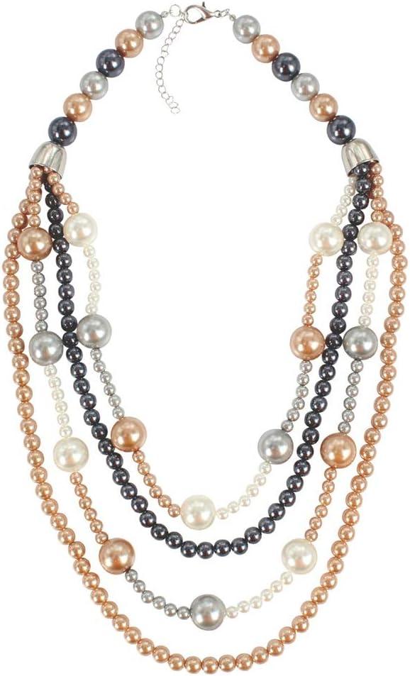 Goodvk-ne Collar para Mujer Conjunto de Collar y aretes de Perlas Grandes de Cadenas Blancas de Cadena sintética con Perlas Grandes de imitación Conjunto de Collar con Peto Regalo de cumpleaños