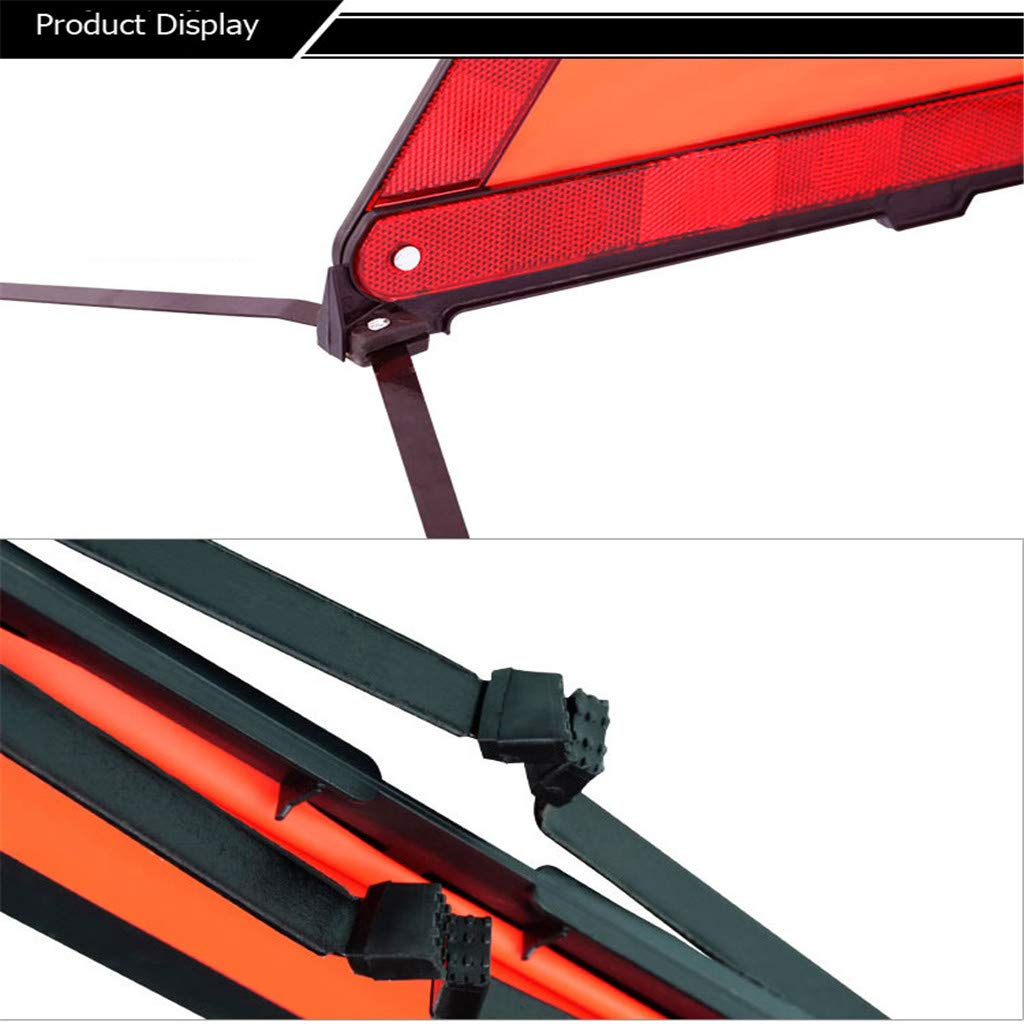 B Blesiya Universal Highly Reflective Warning Triangle Road Signs with Red LED Light