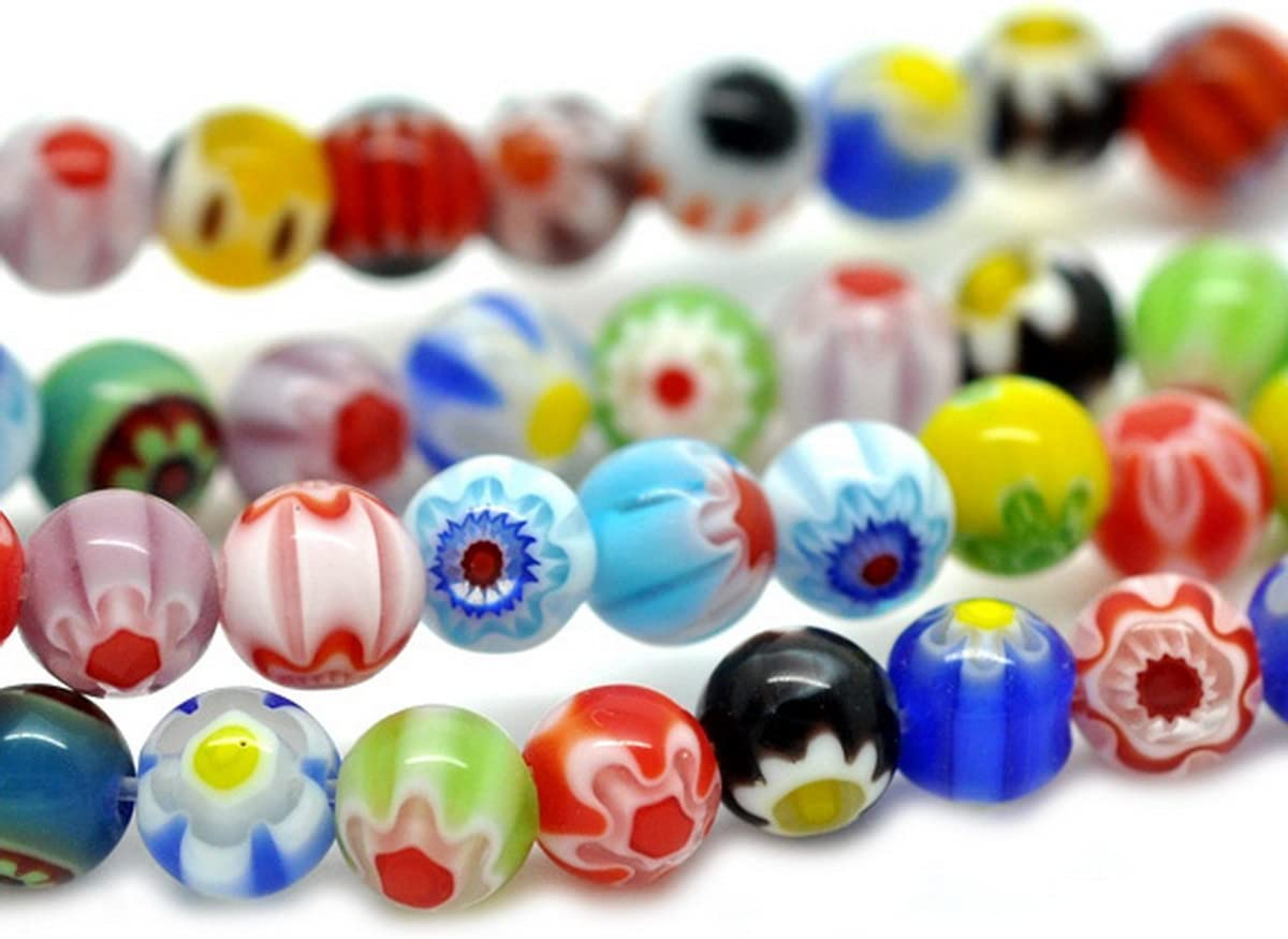 100 PIECES 6 mm Millefiori Verre Perles Rondes-Mixte-B0010