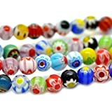 100 pieces 6mm Millefiori Glass Round Beads - Mixed - B0010