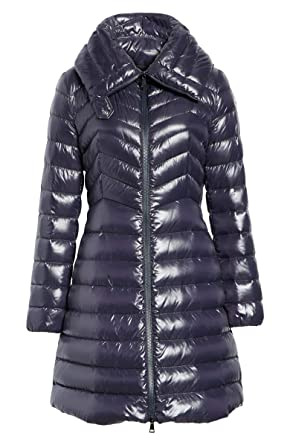 d80185a297a Amazon.com: Moncler Women's Faucon Blue Shiny Puffer Down Fitted 3/4 ...