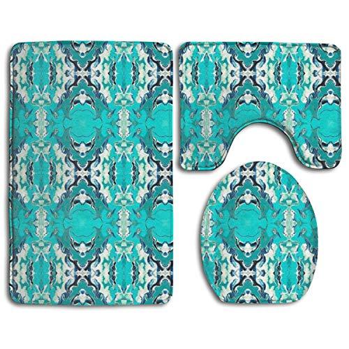 Gothic Medallions Turquoise Fashion Bathroom Rug Mats Set 3 Piece Anti-Skid Pads Bath Mat + Contour + Toilet Lid Cover