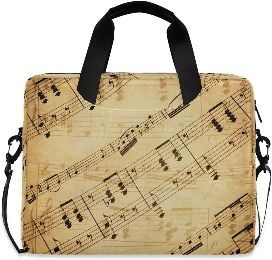 XMCL Laptop Sleeves Case Vintage Music Note Pattern 15-16 Inch Laptop Messenger Bag Briefcase with Handle Strap for Men Women