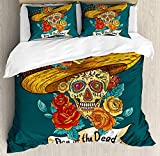 Day of The Dead Bedding Duvet Cover Sets for Children/Adult/Kids/Teens Twin Size, Mexican Festive Hat Skull with Roses Art Print, Hotel Luxury Decorative 4pcs, Petrol Blue Turquoise Orange Marigold