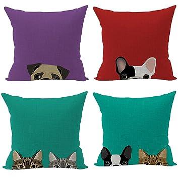 Nunubee perros gatos algodón lino fundas de almohada de 45 x 45 cm fundas de almohada manta almohadas funda cojines para sofá (4 piezas Set): Amazon.es: ...