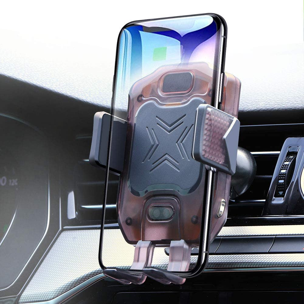 NEWekey Wireless Car Charger Mount Auto Clamping, 10W Qi Fast Charging Wireless Charger for Car Air Vent Phone Holder with Atmosphere Light, Compatible with iPhone Xs Max XR 8 Samsung S10 Note 9