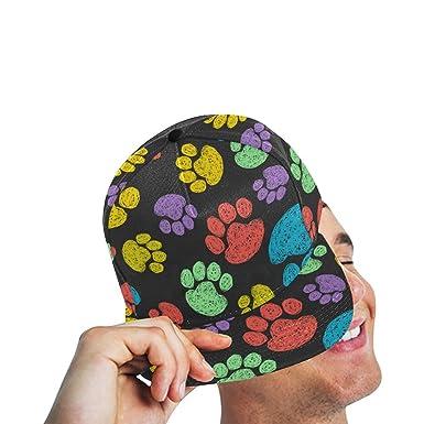 e76a50f19f3 Baseball Cap Colorful Hand Drawn Doodle Paw Prints Hip Hop Snapback ...