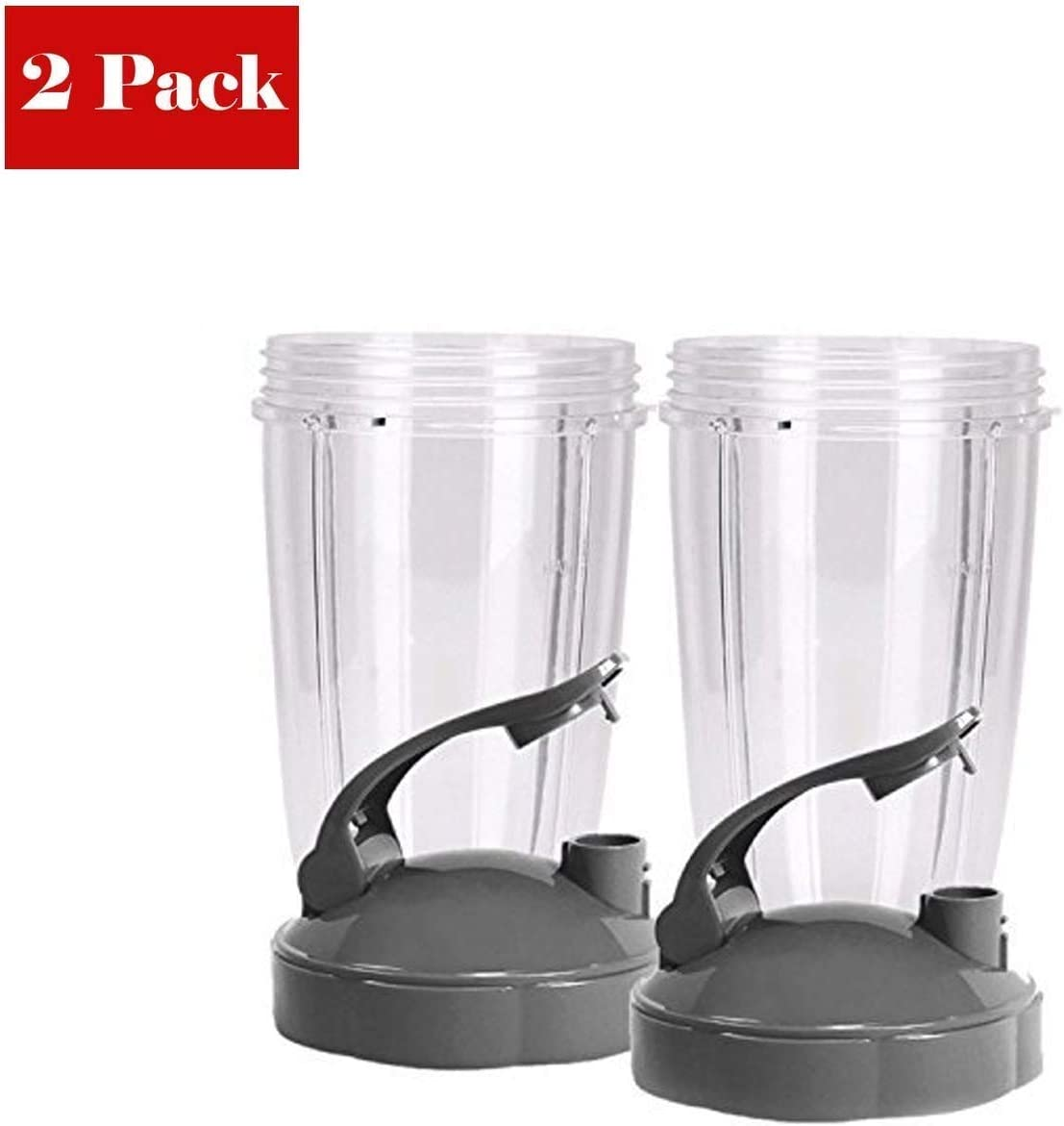 Flip Top To Go Lid with 24oz Tall Cup, compatible with Nutribullet 600W 900W Blenders. (2 Pack)