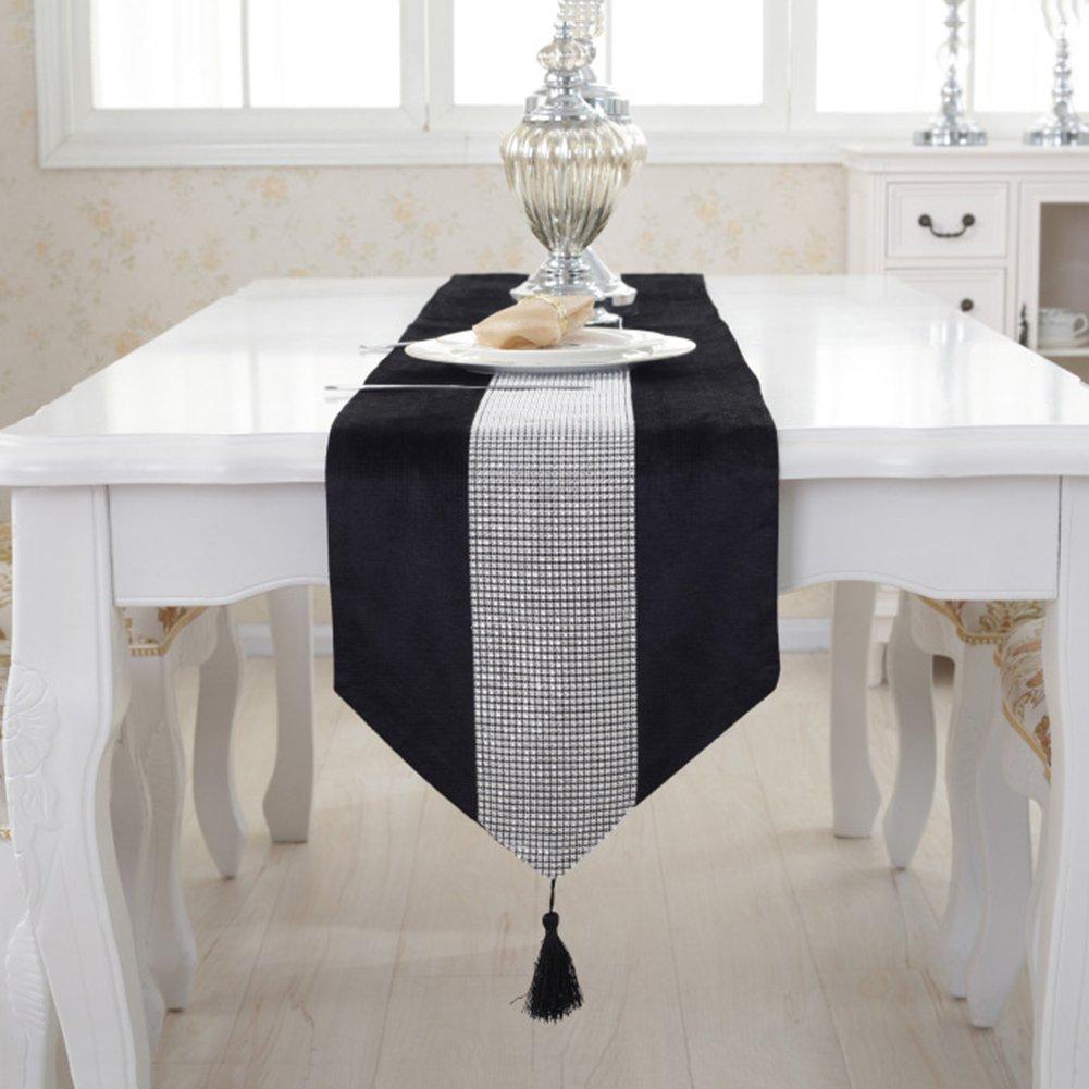 Table Runner Velvet Diamante Dinner Table Runner With Tassels for Home Wedding Birthday Party Decorative Beige, 32*180cm 12*70in