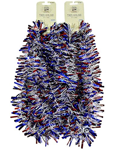 Decorative Patriotic Red White and Blue Tinsel Garland – 2 pc 9 feet each (Red Blue Wide) - Patriotic Tinsel Garland