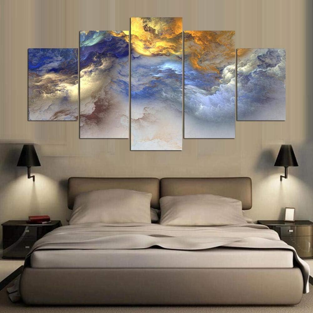 Sandalenka 5 Paneles Modernos Cuadros de Lienzo Colores Abstractos Nubes Grupo Pintura Pared Arte Lienzo Pinturas decoración del hogar Sala de Estar C