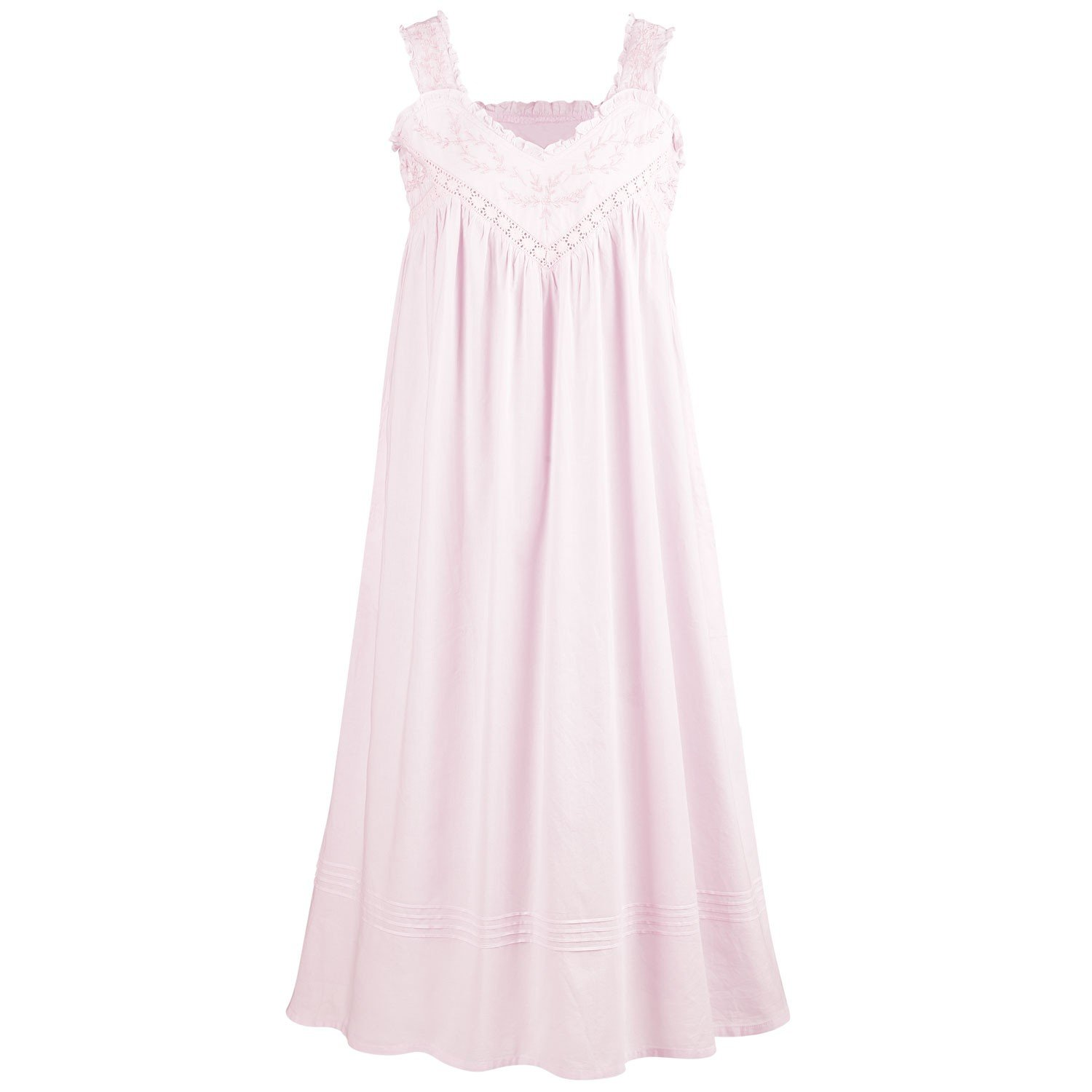 La Cera Cotton Chemise - Lace V-Neck Nightgown with Pockets Nightgown - Pink - 2X