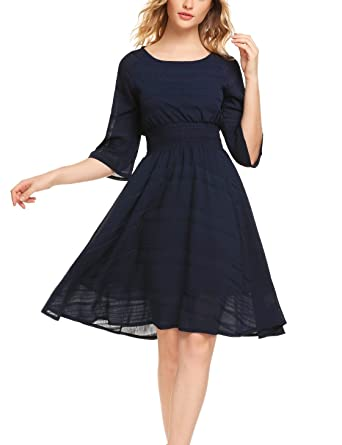 06a12f99f628 Zeagoo Damen Elegant Abendkleid Partykleid Cocktailkleid Festliches Kleid  A-Linie Kleider Falternrock 3 4 Arm Knielang  Amazon.de  Bekleidung