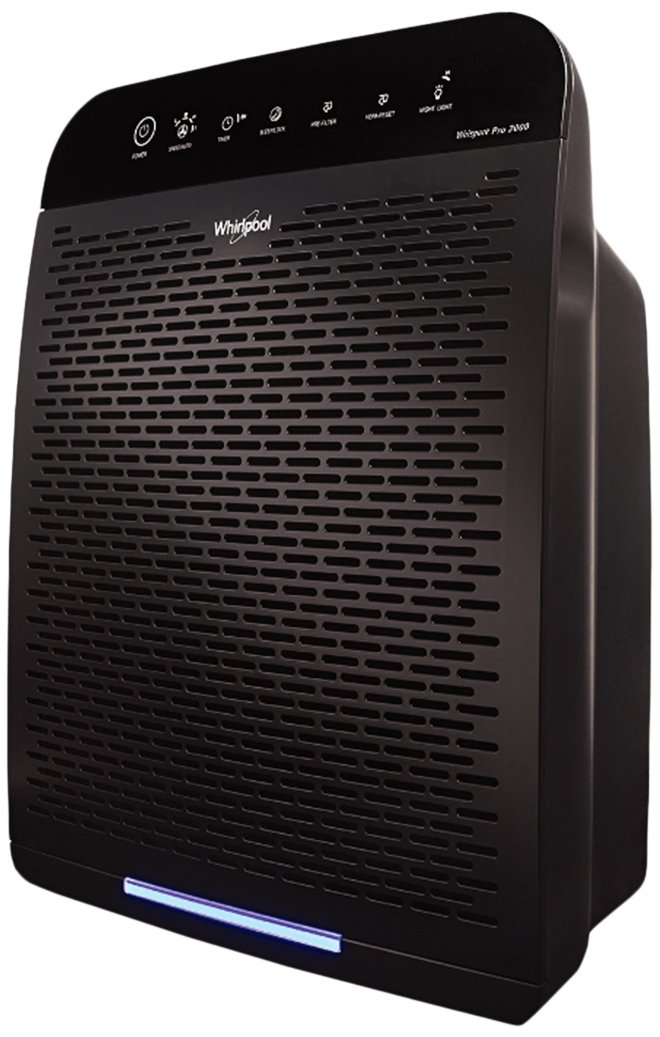 Whirlpool Air Purifier WPPRO2000 with True HEPA Filter 8171510K 1183050K, Timer, Electronic control, Built-In VOCs sensor and Air Quality Monitor, Capture Allergen and Odor (WPPRO2000B-Slate Black)