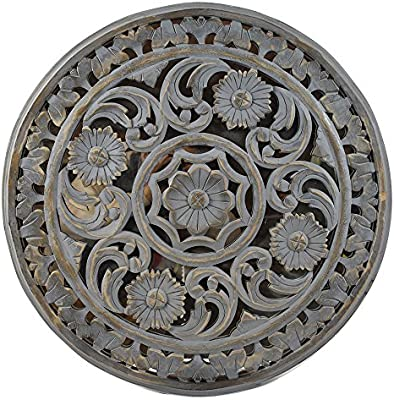 Indian Heritage Wooden Wall Panel 24x24 Carved Round Mdf Mirror In Grey Distress Finish